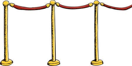 Velvet rope barrier illustration isolated over white Stock Vector - 12494881