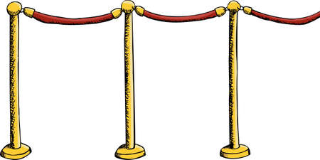roped off: Velvet rope barrier illustration isolated over white Illustration