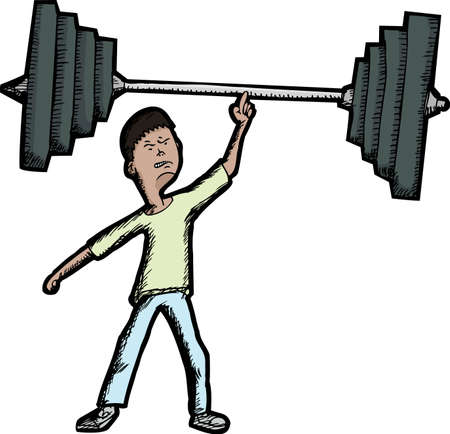 Skinny Latino teen lifts large barbell with finger Vector