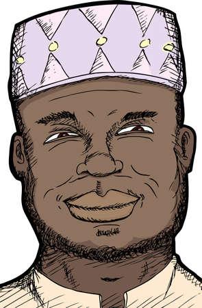 Smiling dark skinned middle-aged Muslim man close-up Illustration