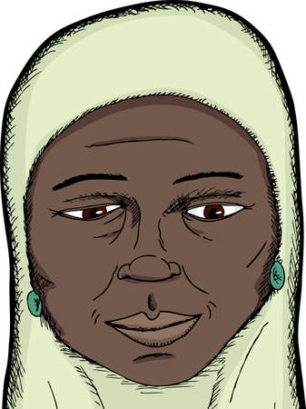 Smiling dark skinned middle-aged Muslim woman close-up Vector
