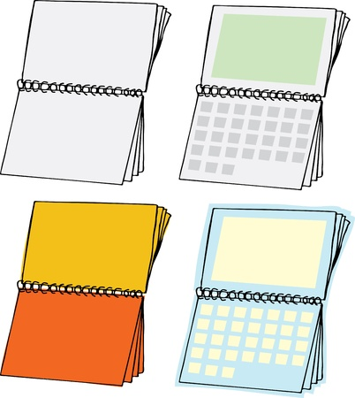 calendar page: Four types of blank spiral bound calendars