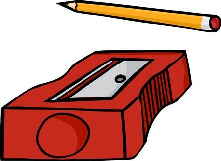 鉛筆と白い背景で隔離されたプラスチック鉛筆削り 写真素材 - 12801807