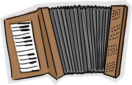 Color sketch of an accordion over white background Çizim