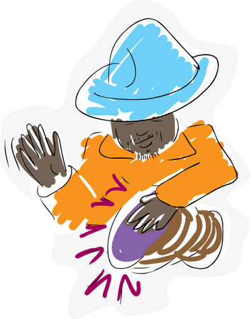 djembe: Sketch of an Aborigine man playing a drum over white background