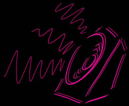 Sketch of speaker playing loud sound over black background