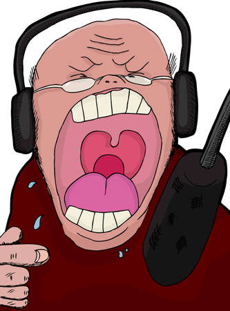 Angry talk show host screaming into a microphone