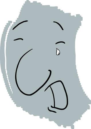 Boceto de la persona que llora con lágrimas en blanco Foto de archivo - 12801814