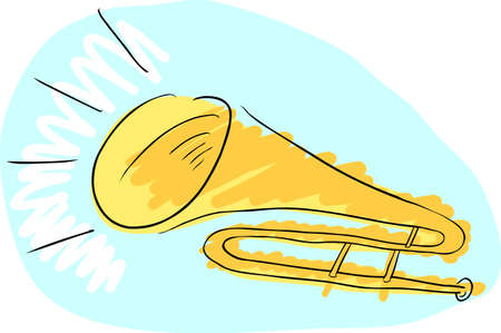 Doodle drawing of a trombone with sound coming from it Vector