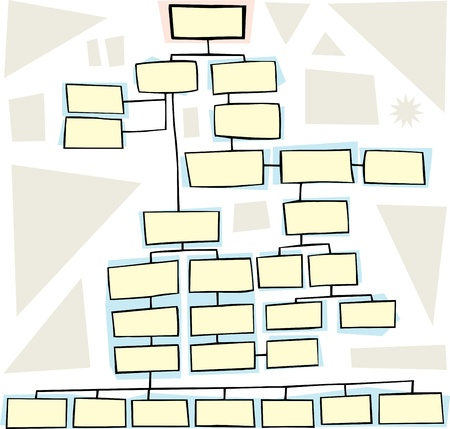 interconnected: Hand drawn flowchart for family trees or business Illustration