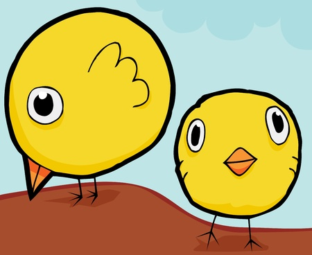Cute baby birds standing and looking for food Vector