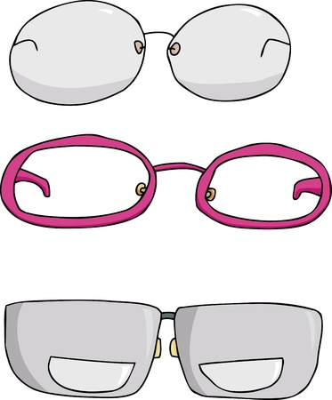 Three types of eyeglasses cartoons over white background Stock Vector - 12801838