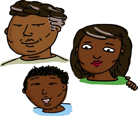 Smiling Latino family of three isolated over white background Vector