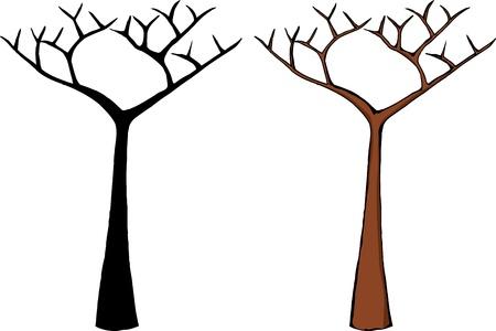 kale: Cartoon van een dode boom geà ¯ soleerde over witte