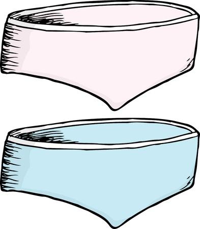 Pink and blue ladies underwear over white background