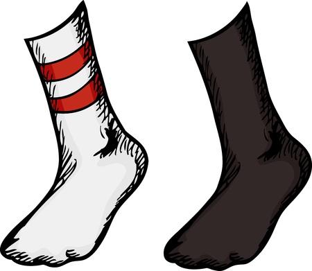 Geïsoleerde voeten met verschillende sokken over een witte achtergrond Stock Illustratie