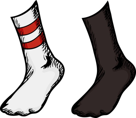 white socks: Isolated feet with different socks over white background