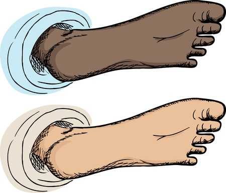 underside: Cartoon of underside of human foot isolated over white