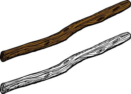Isolé vieux bâton en bois sur fond blanc Vecteurs