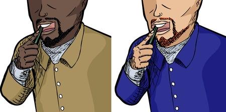 Unidentifiable man brushing teeth isolated over white background