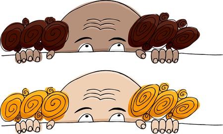 balding: Funny balding man hiding over white background