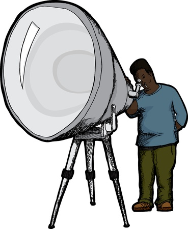 Surprised Black man looks through large telescope
