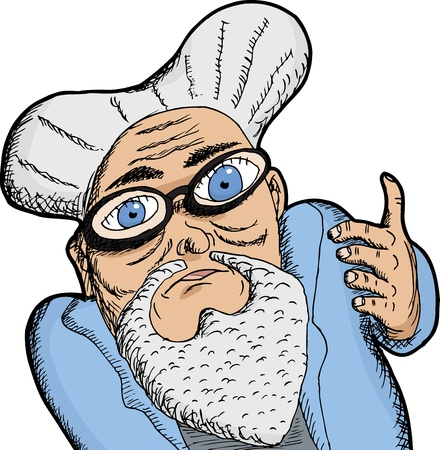 single eyed: Elderly man in beard with thick eyeglasses and big eyes
