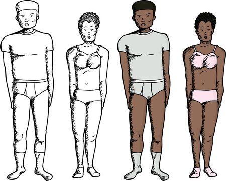 Black male and female in modern underwear clothes Çizim
