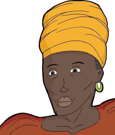 kopftuch: Muslimische Frau in traditioneller afrikanischer Kleidung �ber wei�em Hintergrund Illustration