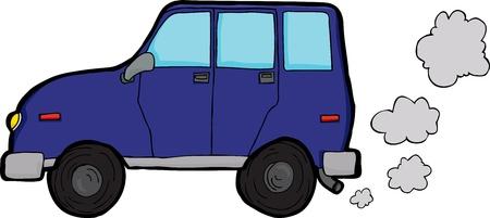 Generic sport utility vehicle emitting exhaust fumes