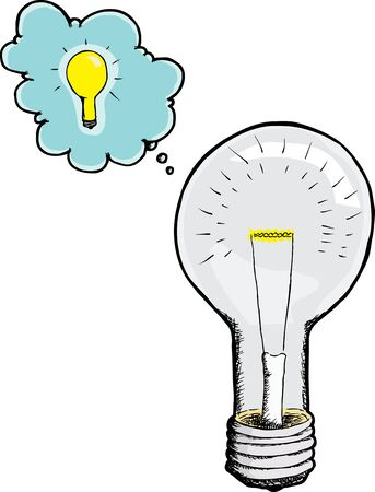 Illustration of a light bulb with an idea bubble over white background