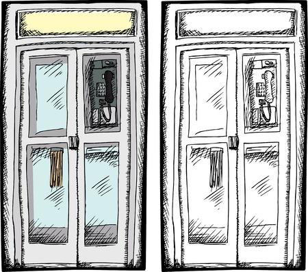 Pliante porte cabine téléphonique payante isolé sur fond blanc Banque d'images - 13585789