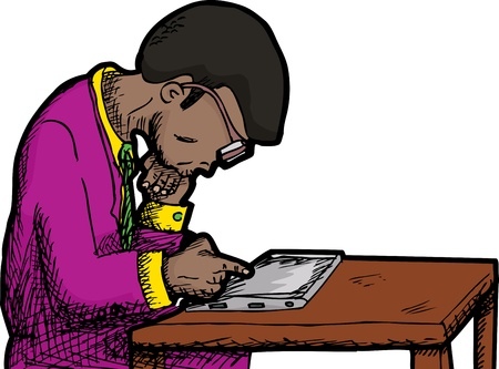 Black man with thick eyeglasses reading a tablet pc Vector