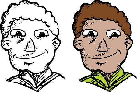 mixed race: Mixed race man with smile in outline and color Illustration