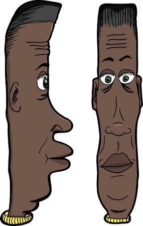 Cartoon of long faced Black man with green eyes