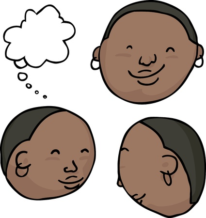 Cute African smiley face icons with thought bubble Vector