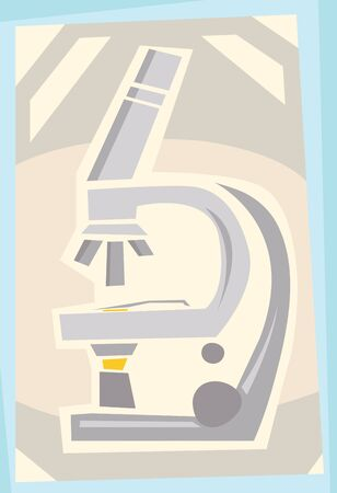 microscopy: Abstract illustration of a compound microscope in a frame