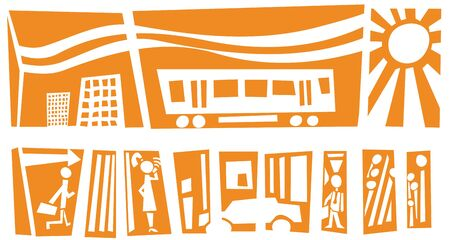 Abstract city in the summer with people, cars and trains Vector