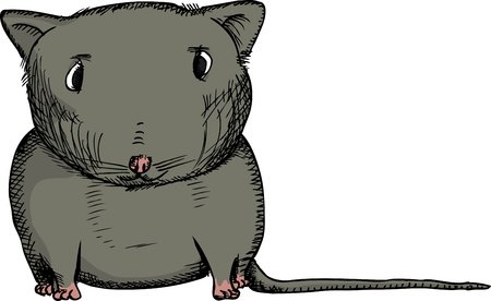 Cartoon of isolated black gerbil staring ahead Çizim