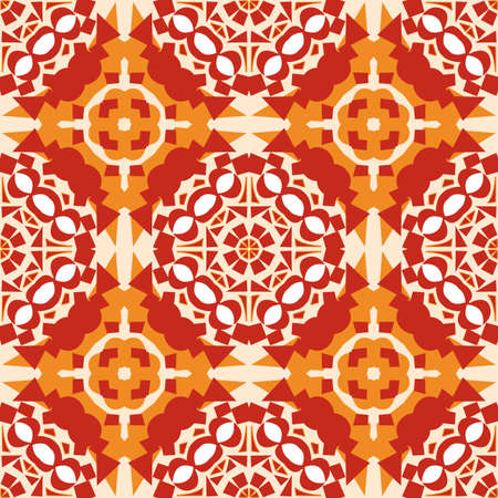 Seamless background pattern of orange and red mosaic tiles