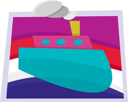 Abstract illustration of a big boat on the water Vector