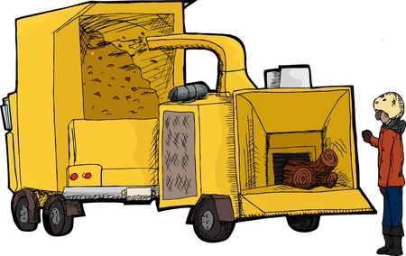 Worker places tree through wood chipping machine Illustration