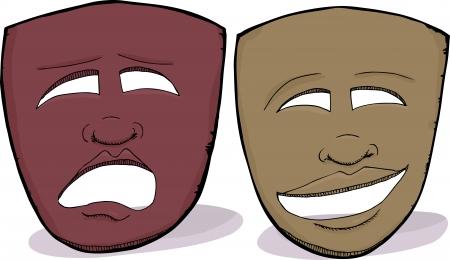 아프리카 얼굴의 특징과 연극 극적인 마스크