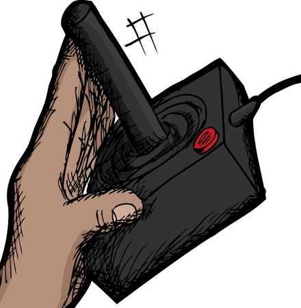 Sketch of hand using a vintage video game controller Vector