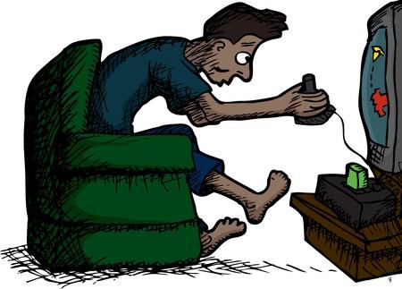 スキニー ラテン男レトロなビデオゲームをプレイ