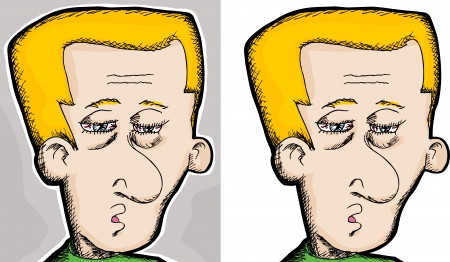 Cartoon of a tired European man with bloodshot eyes Vector