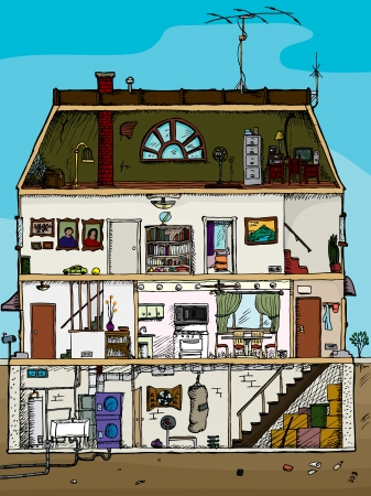 3-story old house cartoon cross section with basement Vettoriali