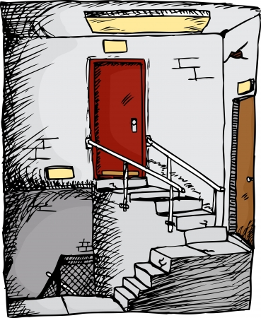 Empty stairwell with two doors inside a building Vector
