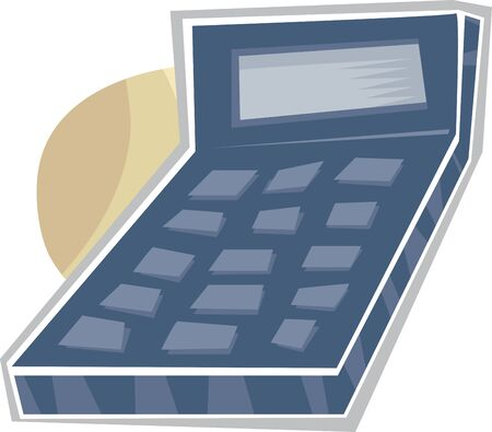 Abstract blue calculator with blank display and buttons