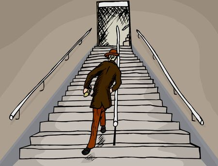 Drunken businessman staggers up a long staircase